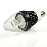 E12-x3W-C37: Candelabra LED Bulb, 3W CREE XPE - Black 