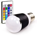 E27G-RGB5W-DI: LED RGB Globe Bulb (remote sold seperately)